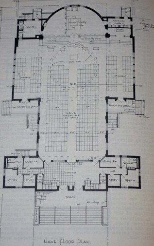 Plans for the Narthex, Nave, and Sanctuary as initially presented. Notice that in the upper-right-hand-corner, there was originally going to be a second iconostasis and altar, perhaps for week-day services when attendance would be lighter.
